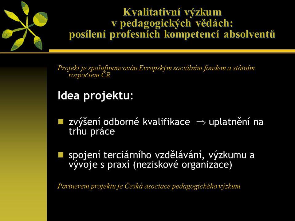 Kvalitativní výzkum v pedagogických vědách: posílení profesních kompetencí absolventů Projekt je spolufinancován Evropským sociálním fondem a státním rozpočtem ČR Idea projektu: zvýšení odborné kvalifikace  uplatnění na trhu práce spojení terciárního vzdělávání, výzkumu a vývoje s praxí (neziskové organizace) Partnerem projektu je Česká asociace pedagogického výzkum