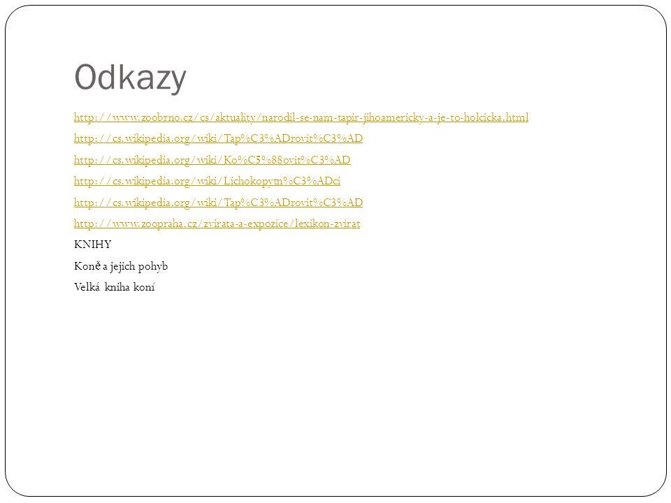 Odkazy http://www.zoobrno.cz/cs/aktuality/narodil-se-nam-tapir-jihoamericky-a-je-to-holcicka.html http://cs.wikipedia.org/wiki/Tap%C3%ADrovit%C3%AD ht