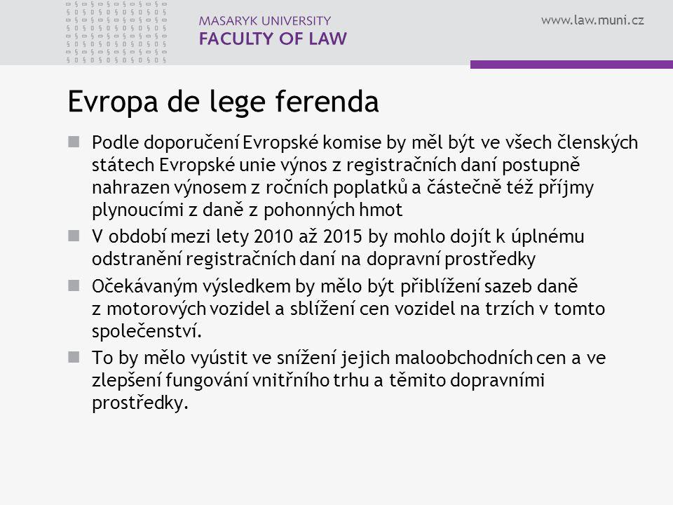 www.law.muni.cz Evropa de lege ferenda Podle doporučení Evropské komise by měl být ve všech členských státech Evropské unie výnos z registračních daní