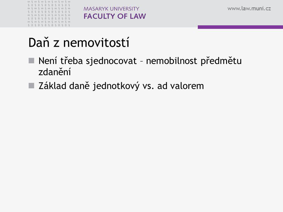 www.law.muni.cz Daň z nemovitostí Není třeba sjednocovat – nemobilnost předmětu zdanění Základ daně jednotkový vs. ad valorem