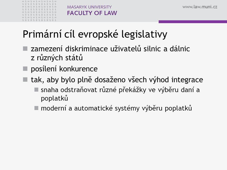 www.law.muni.cz Primární cíl evropské legislativy zamezení diskriminace uživatelů silnic a dálnic z různých států posílení konkurence tak, aby bylo pl