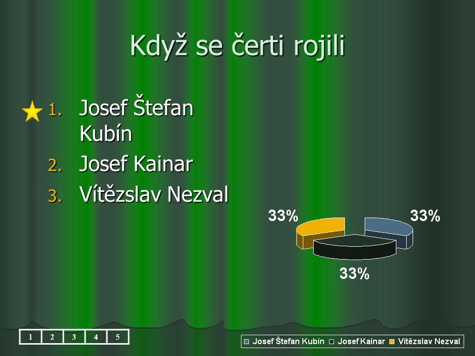 Když se čerti rojili 1. Josef Štefan Kubín 2. Josef Kainar 3. Vítězslav Nezval 12345