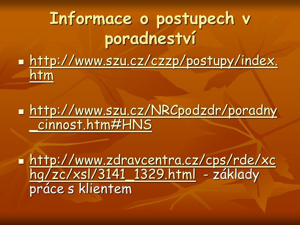 Informace o postupech v poradneství http://www.szu.cz/czzp/postupy/index. htm http://www.szu.cz/czzp/postupy/index. htm http://www.szu.cz/czzp/postupy