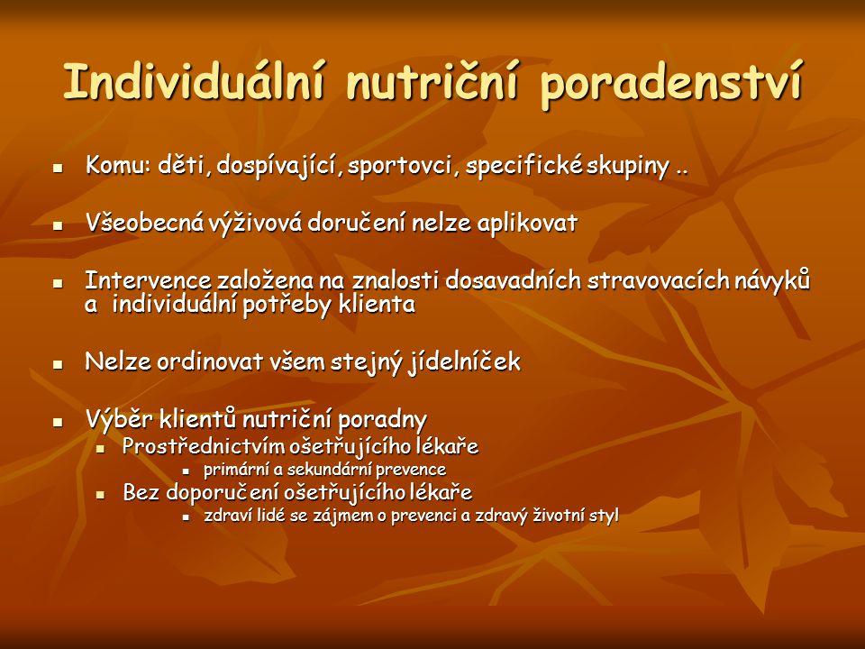 Individuální nutriční poradenství Komu: děti, dospívající, sportovci, specifické skupiny.. Komu: děti, dospívající, sportovci, specifické skupiny.. Vš