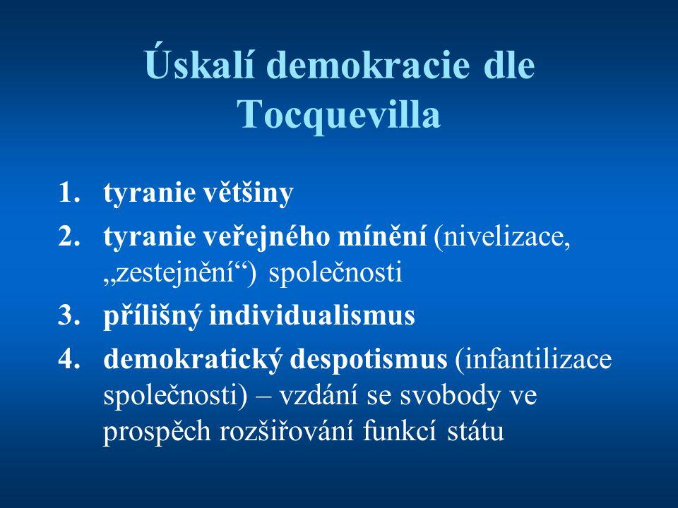 """Úskalí demokracie dle Tocquevilla 1.tyranie většiny 2.tyranie veřejného mínění (nivelizace, """"zestejnění"""") společnosti 3.přílišný individualismus 4.dem"""
