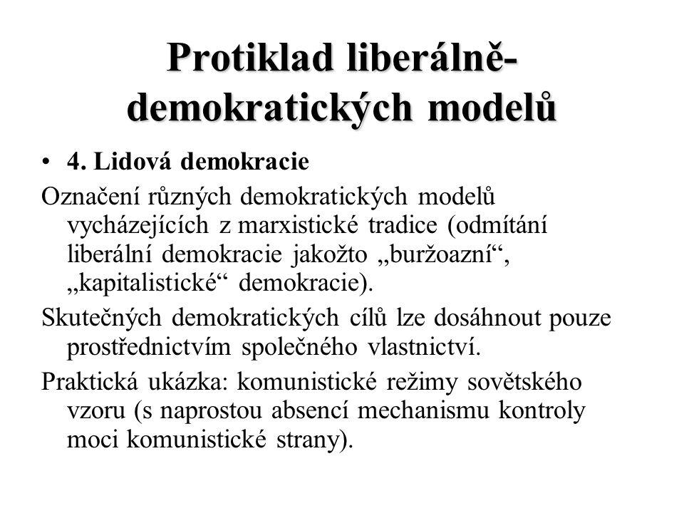 Protiklad liberálně- demokratických modelů 4. Lidová demokracie Označení různých demokratických modelů vycházejících z marxistické tradice (odmítání l