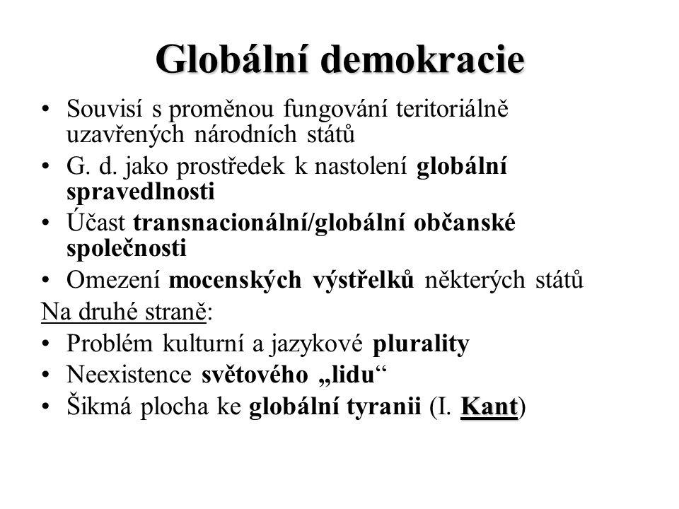 Globální demokracie Souvisí s proměnou fungování teritoriálně uzavřených národních států G. d. jako prostředek k nastolení globální spravedlnosti Účas