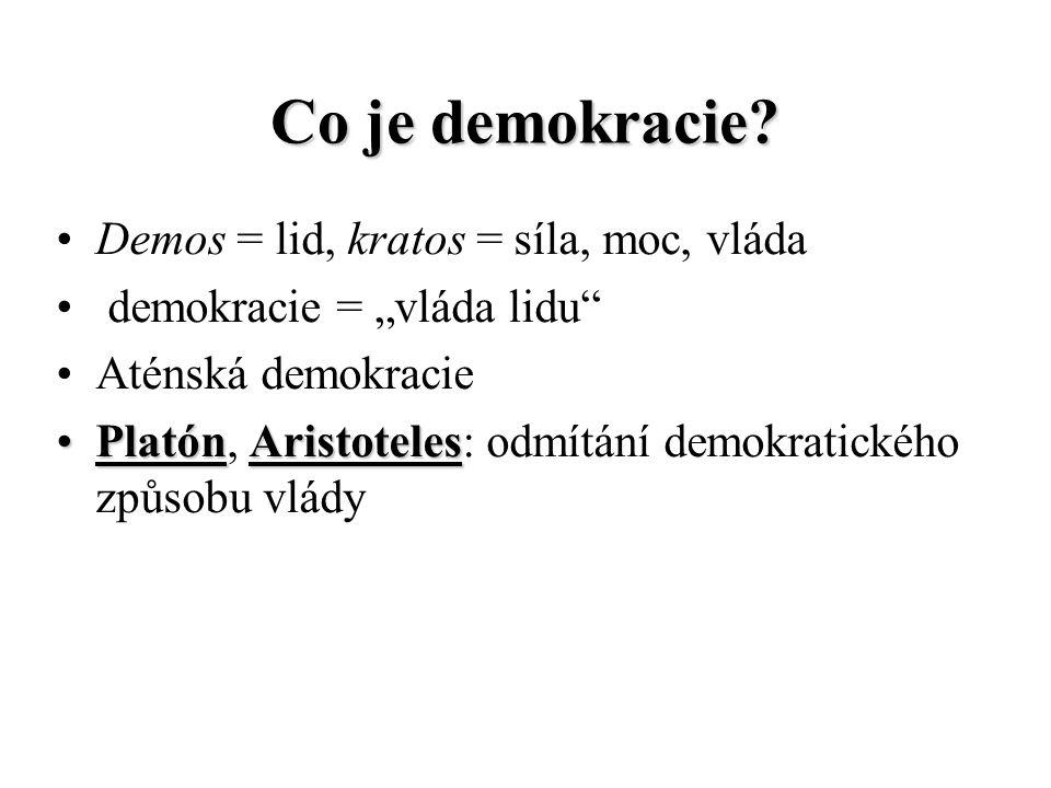 """Co je demokracie? Demos = lid, kratos = síla, moc, vláda demokracie = """"vláda lidu"""" Aténská demokracie Platón, A AA Aristoteles: odmítání demokratickéh"""