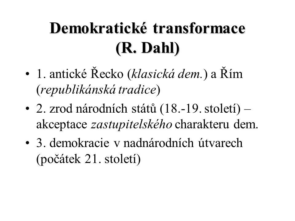 Demokratické transformace (R. Dahl) 1. antické Řecko (klasická dem.) a Řím (republikánská tradice) 2. zrod národních států (18.-19. století) – akcepta