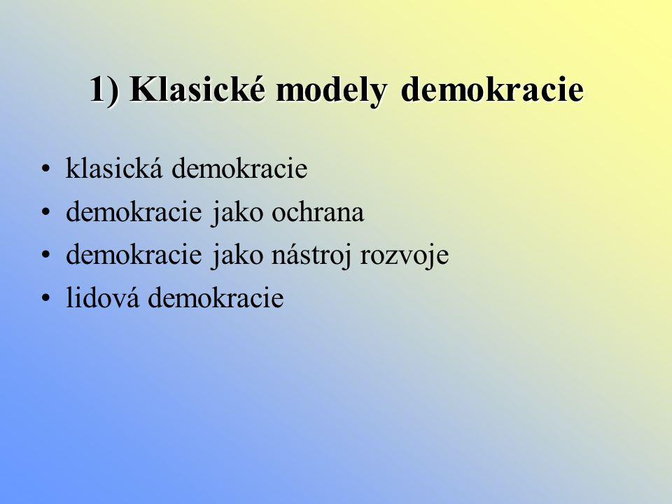 1) Klasické modely demokracie klasická demokracie demokracie jako ochrana demokracie jako nástroj rozvoje lidová demokracie
