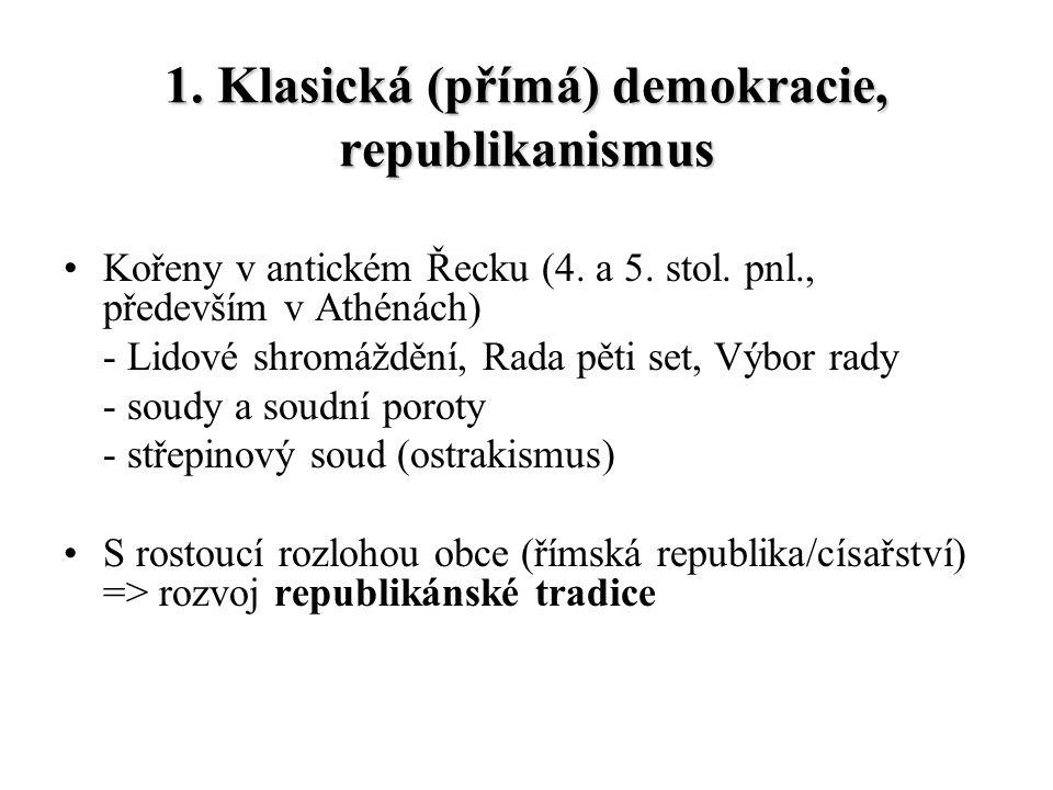 1. Klasická (přímá) demokracie, republikanismus Kořeny v antickém Řecku (4. a 5. stol. pnl., především v Athénách) - Lidové shromáždění, Rada pěti set