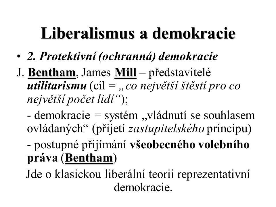 """Liberalismus a demokracie 2. Protektivní (ochranná) demokracie J. B BB Bentham, James M MM Mill – představitelé utilitarismu (cíl = """"co největší štěst"""
