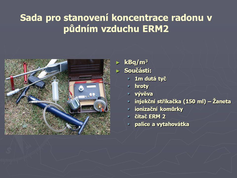 ► kBq/m 3 ► Součásti:  1m dutá tyč  hroty  vývěva  injekční stříkačka (150 ml) – Žaneta  ionizační komůrky  čítač ERM 2  palice a vytahovátka Sada pro stanovení koncentrace radonu v půdním vzduchu ERM2