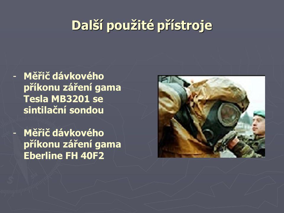 Další použité přístroje - -Měřič dávkového příkonu záření gama Tesla MB3201 se sintilační sondou - -Měřič dávkového příkonu záření gama Eberline FH 40F2