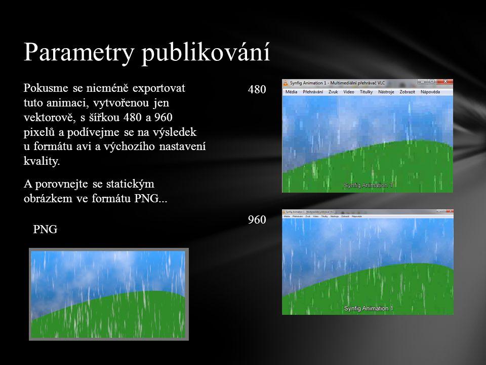 Z výše uvedeného je patrné, že ideální je už na začátku používat takový fyzický rozměr animace, který budeme potřebovat exportovat, kvalitu zachovalo pouze PNG.