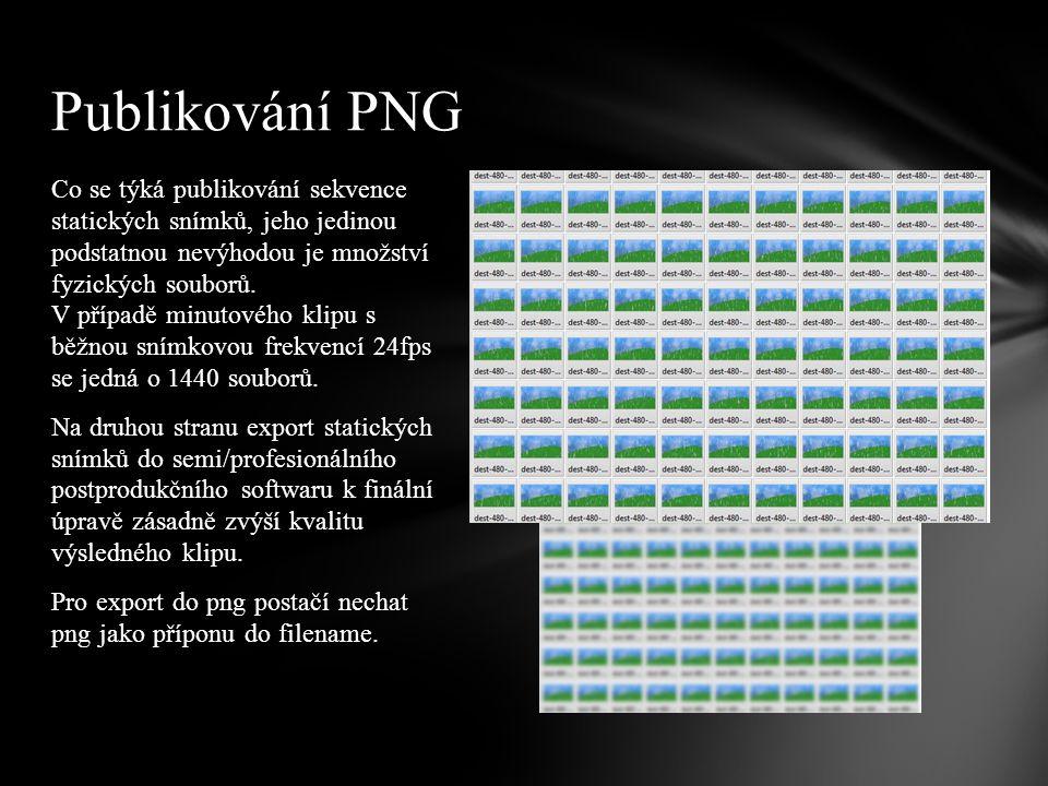 Co se týká publikování sekvence statických snímků, jeho jedinou podstatnou nevýhodou je množství fyzických souborů.