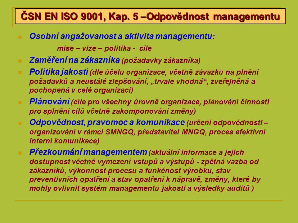 """Osobní angažovanost a aktivita managementu: mise – vize – politika - cíle Zaměření na zákazníka (požadavky zákazníka) Politika jakosti (dle účelu organizace, včetně závazku na plnění požadavků a neustálé zlepšování, """"trvale vhodná , zveřejněná a pochopená v celé organizaci) Plánování (cíle pro všechny úrovně organizace, plánování činností pro splnění cílů včetně zakomponování změny) Odpovědnost, pravomoc a komunikace (určení odpovědnosti – organizování v rámci SMNGQ, představitel MNGQ, proces efektivní interní komunikace) Přezkoumání managementem (aktuální informace a jejich dostupnost včetně vymezení vstupů a výstupů - zpětná vazba od zákazníků, výkonnost procesu a funkčnost výrobku, stav preventivních opatření a stav opatření k nápravě, změny, které by mohly ovlivnit systém managementu jakosti a výsledky auditů ) ČSN EN ISO 9001, Kap."""