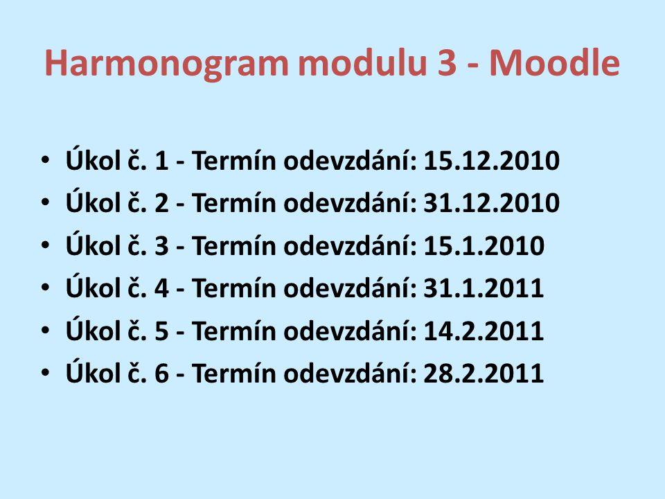 Harmonogram modulu 3 - Moodle Úkol č. 1 - Termín odevzdání: 15.12.2010 Úkol č. 2 - Termín odevzdání: 31.12.2010 Úkol č. 3 - Termín odevzdání: 15.1.201