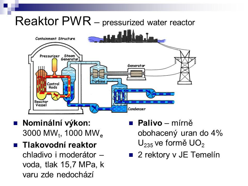 Reaktor PWR – pressurized water reactor Nominální výkon: 3000 MW t, 1000 MW e Tlakovodní reaktor chladivo i moderátor – voda, tlak 15,7 MPa, k varu zd