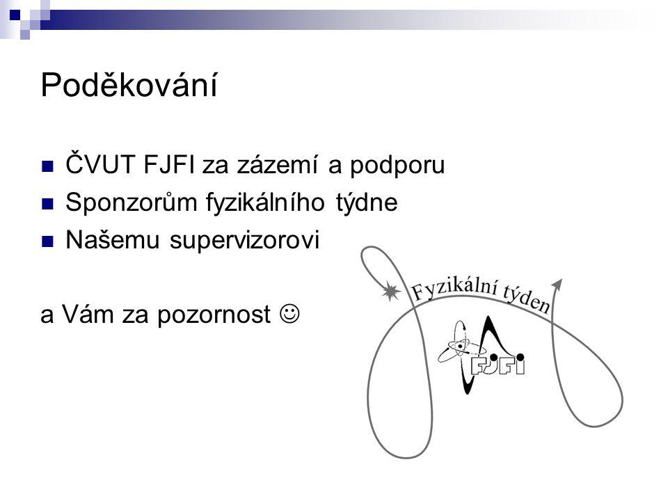 Poděkování ČVUT FJFI za zázemí a podporu Sponzorům fyzikálního týdne Našemu supervizorovi a Vám za pozornost