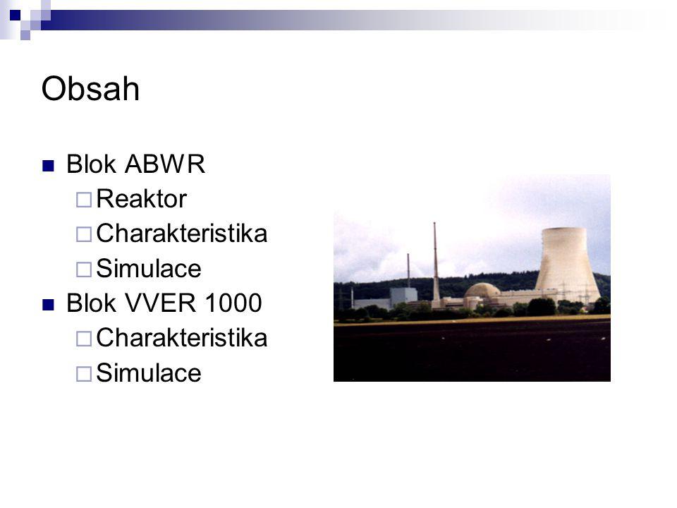 Obsah Blok ABWR  Reaktor  Charakteristika  Simulace Blok VVER 1000  Charakteristika  Simulace