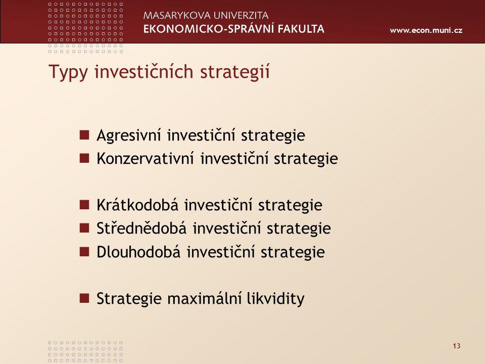 www.econ.muni.cz 13 Typy investičních strategií Agresivní investiční strategie Konzervativní investiční strategie Krátkodobá investiční strategie Střednědobá investiční strategie Dlouhodobá investiční strategie Strategie maximální likvidity