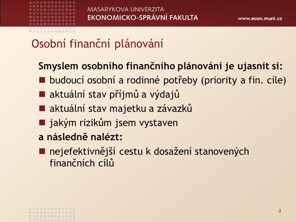 www.econ.muni.cz 3 Fáze finančního plánování Finanční plánování spočívá v: analýze finanční situace definici finančních cílů sestavení finančního plánu realizaci finančního plánu vyhodnocování a revizi finančního plánu