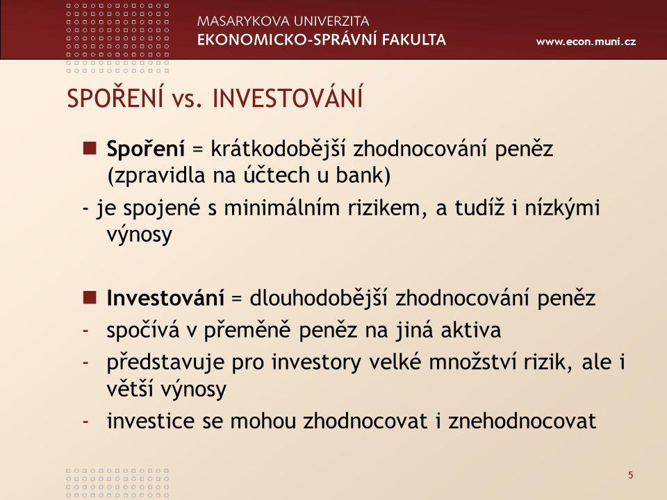 www.econ.muni.cz 66 Rizika spojená s investováním úvěrové tržní (úrokové, akciové, kurzové …) likvidity operační právní