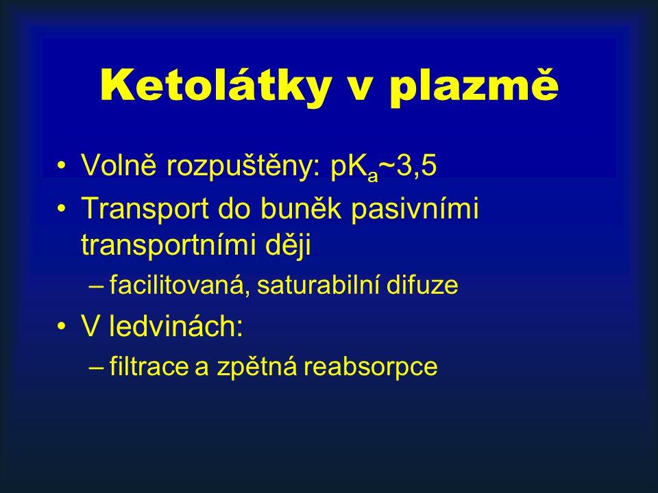 Ketolátky v plazmě Volně rozpuštěny: pK a ~3,5 Transport do buněk pasivními transportními ději –facilitovaná, saturabilní difuze V ledvinách: –filtrace a zpětná reabsorpce