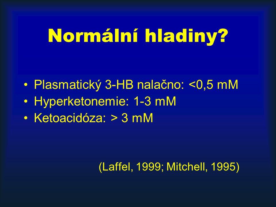 Normální hladiny? Plasmatický 3-HB nalačno: <0,5 mM Hyperketonemie: 1-3 mM Ketoacidóza: > 3 mM (Laffel, 1999; Mitchell, 1995)