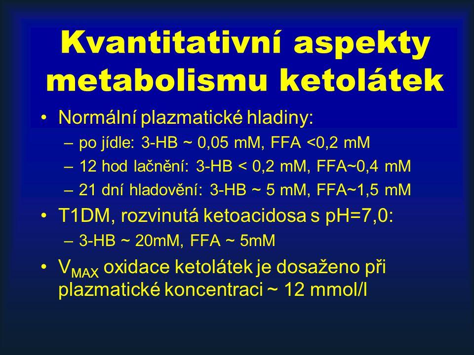 Kvantitativní aspekty metabolismu ketolátek Normální plazmatické hladiny: –po jídle: 3-HB ~ 0,05 mM, FFA <0,2 mM –12 hod lačnění: 3-HB < 0,2 mM, FFA~0,4 mM –21 dní hladovění: 3-HB ~ 5 mM, FFA~1,5 mM T1DM, rozvinutá ketoacidosa s pH=7,0: –3-HB ~ 20mM, FFA ~ 5mM V MAX oxidace ketolátek je dosaženo při plazmatické koncentraci ~ 12 mmol/l