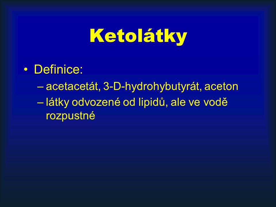 Ketolátky Definice: –acetacetát, 3-D-hydrohybutyrát, aceton –látky odvozené od lipidů, ale ve vodě rozpustné