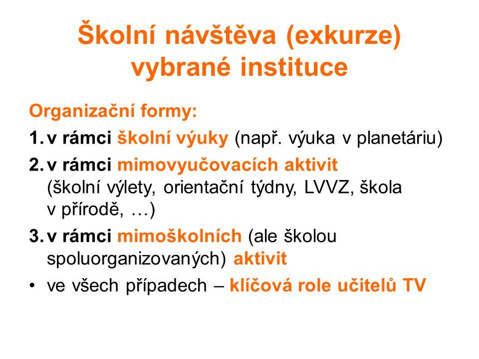 Školní návštěva (exkurze) vybrané instituce Organizační formy: 1.v rámci školní výuky (např. výuka v planetáriu) 2.v rámci mimovyučovacích aktivit (šk