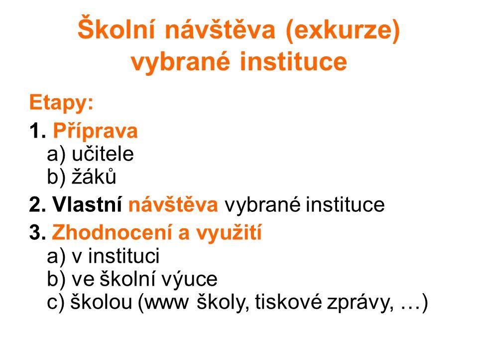 Školní návštěva (exkurze) vybrané instituce Etapy: 1. Příprava a) učitele b) žáků 2. Vlastní návštěva vybrané instituce 3. Zhodnocení a využití a) v i