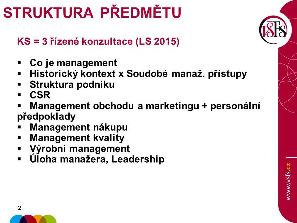 2.2. KS = 3 řízené konzultace (LS 2015)  Co je management  Historický kontext x Soudobé manaž.