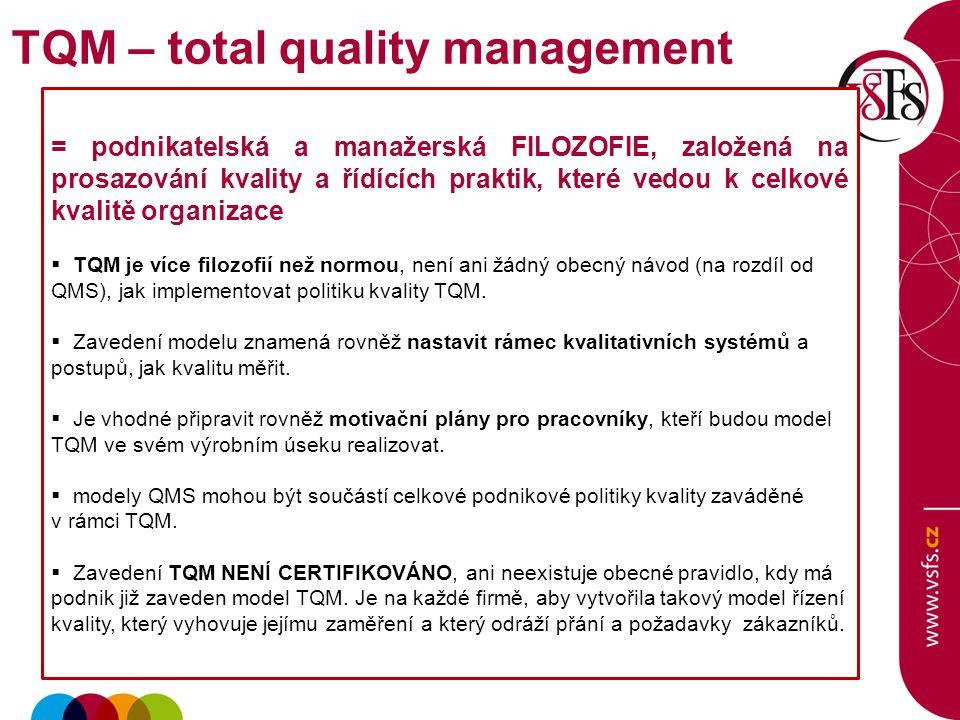 = podnikatelská a manažerská FILOZOFIE, založená na prosazování kvality a řídících praktik, které vedou k celkové kvalitě organizace  TQM je více filozofií než normou, není ani žádný obecný návod (na rozdíl od QMS), jak implementovat politiku kvality TQM.