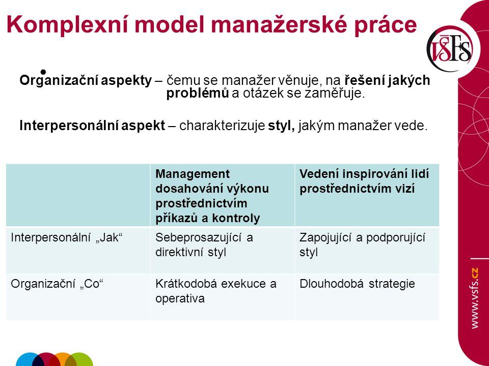 Organizační aspekty – čemu se manažer věnuje, na řešení jakých problémů a otázek se zaměřuje.