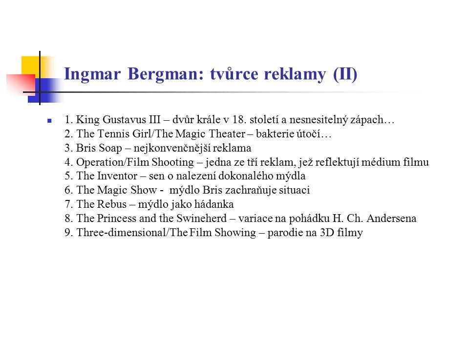 """Ingmar Bergman a populární kultura (I) Stejně jako práce dalších význačných tvůrců, stala se i tvorba Ingmara Bergmana předmětem svébytných interpretací, které se primárně soustředí na humornou parafrázi; k takovému """"zneuctění ovšem Bergmanovy filmy přímo vybízejí, neboť pracují s atributy, jež se příkladně hodí pro ironické zlehčení """"Útok na Bergmana se tak projevuje v několika rovinách: První představují klasické projevy hommage nebo inspirace Bergmanovým dílem (přičemž v tomto ohledu jsou asi nejznámější pokusy Woodyho Allena a z novějších filmů Bill & Ted s Bogus Journey (1991) či Poslední akční hrdina (1993) V oblasti filmu dále stojí za zmínku hindský populární snímek Tehzeeb (2003), jenž přejímá dějové schéma Podzimní sonáty (1978)"""