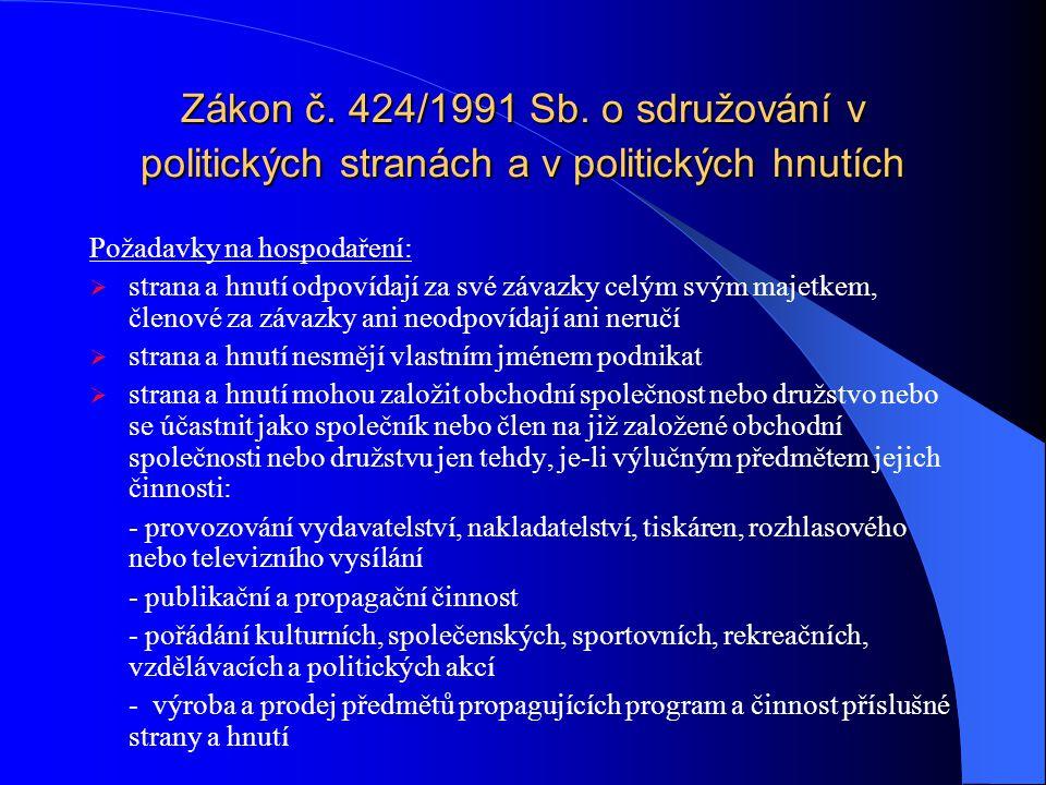 Zákon č.424/1991 Sb.