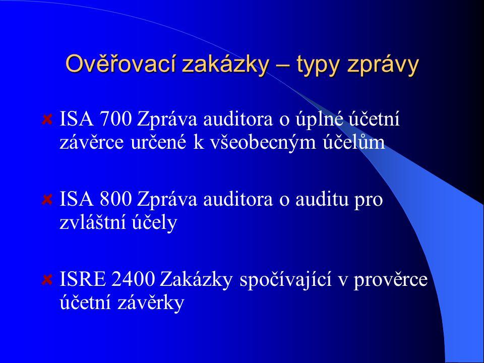 Ověřovací zakázky – typy zprávy ISA 700 Zpráva auditora o úplné účetní závěrce určené k všeobecným účelům ISA 800 Zpráva auditora o auditu pro zvláštní účely ISRE 2400 Zakázky spočívající v prověrce účetní závěrky