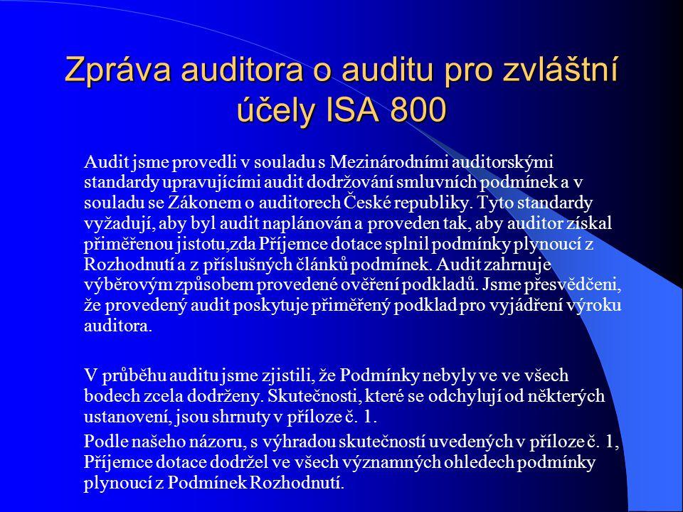 Zpráva auditora o auditu pro zvláštní účely ISA 800 Audit jsme provedli v souladu s Mezinárodními auditorskými standardy upravujícími audit dodržování smluvních podmínek a v souladu se Zákonem o auditorech České republiky.