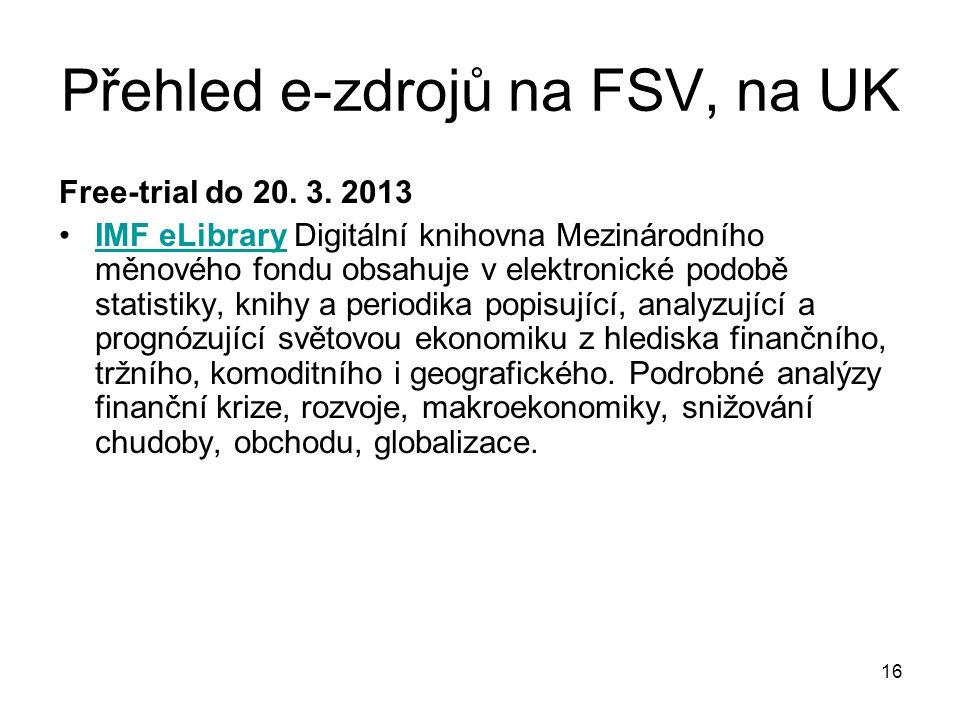 Přehled e-zdrojů na FSV, na UK Free-trial do 20. 3.