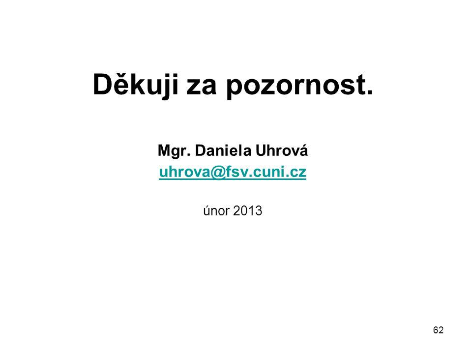 Děkuji za pozornost. Mgr. Daniela Uhrová uhrova@fsv.cuni.cz únor 2013 62