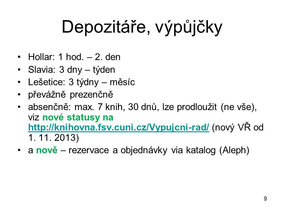 Depozitáře, výpůjčky Hollar: 1 hod. – 2.