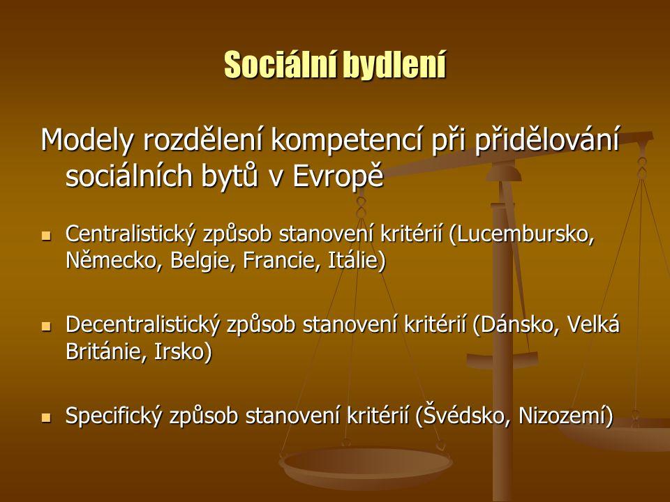 Sociální bydlení Modely rozdělení kompetencí při přidělování sociálních bytů v Evropě Centralistický způsob stanovení kritérií (Lucembursko, Německo, Belgie, Francie, Itálie) Centralistický způsob stanovení kritérií (Lucembursko, Německo, Belgie, Francie, Itálie) Decentralistický způsob stanovení kritérií (Dánsko, Velká Británie, Irsko) Decentralistický způsob stanovení kritérií (Dánsko, Velká Británie, Irsko) Specifický způsob stanovení kritérií (Švédsko, Nizozemí) Specifický způsob stanovení kritérií (Švédsko, Nizozemí)