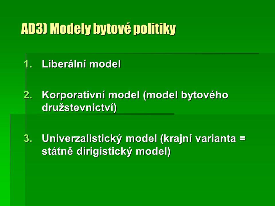 AD3) Modely bytové politiky 1.Liberální model 2.Korporativní model (model bytového družstevnictví) 3.Univerzalistický model (krajní varianta = státně dirigistický model)