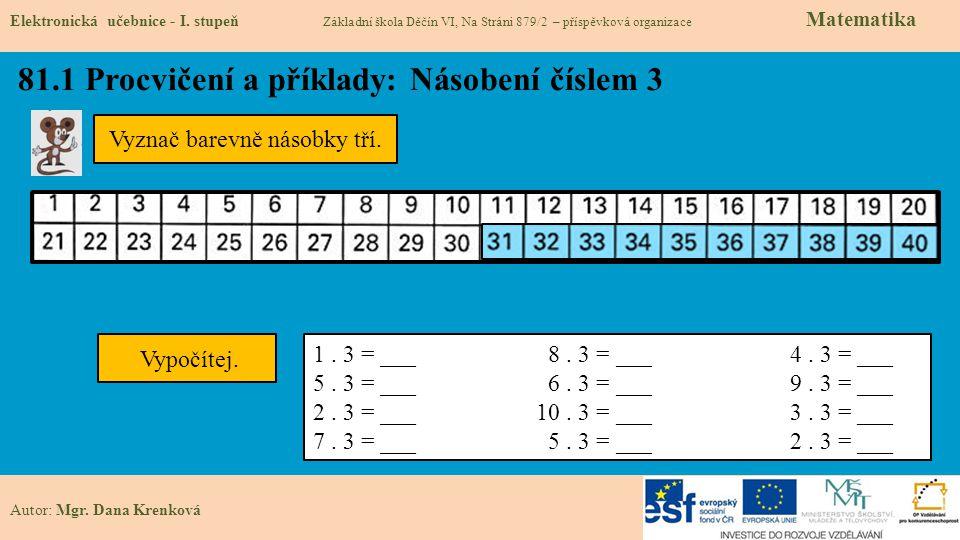81.1 Procvičení a příklady: Násobení číslem 3 Elektronická učebnice - I.