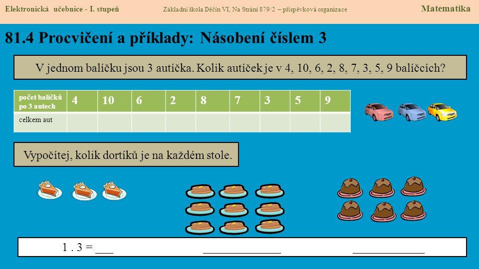 81.4 Procvičení a příklady: Násobení číslem 3 Elektronická učebnice - I.