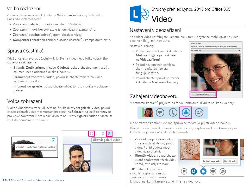 Stručný přehled videa Zahájení videohovoru V seznamu kontaktů přejděte na fotku kontaktu a klikněte na ikonu kamery. Na obrazovce kontaktu vyskočí zpr
