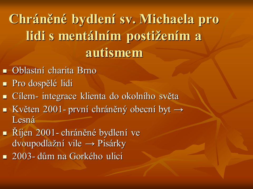 Chráněné bydlení sv. Michaela pro lidi s mentálním postižením a autismem Oblastní charita Brno Oblastní charita Brno Pro dospělé lidi Pro dospělé lidi